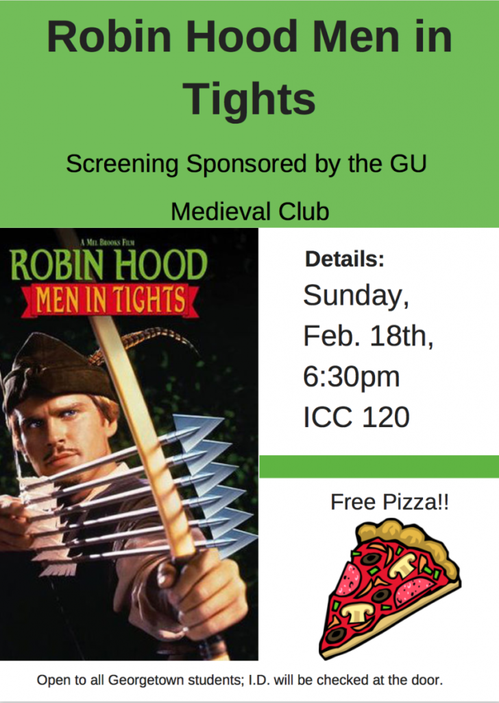Robin Hood Men in Tights screening flyer, with photo of film poster.